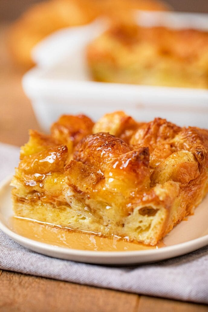 Croissant French Toast Bake with maple syrup