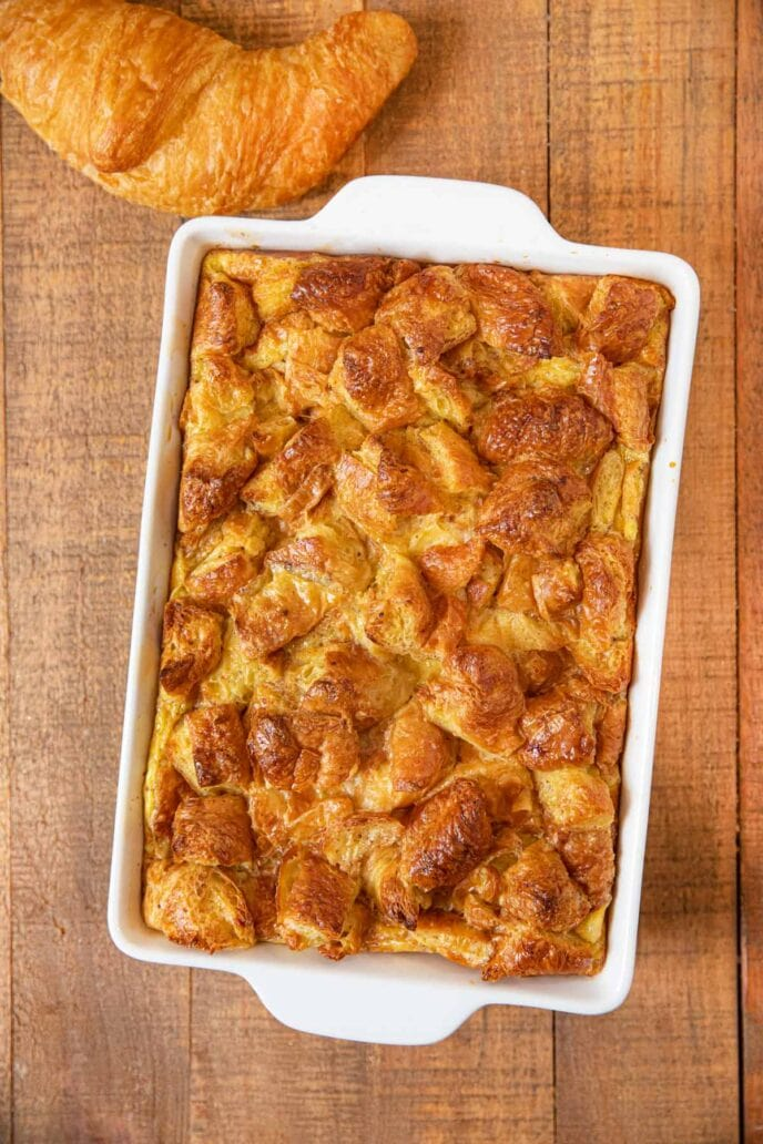 Croissant French Toast Bake in white baking dish
