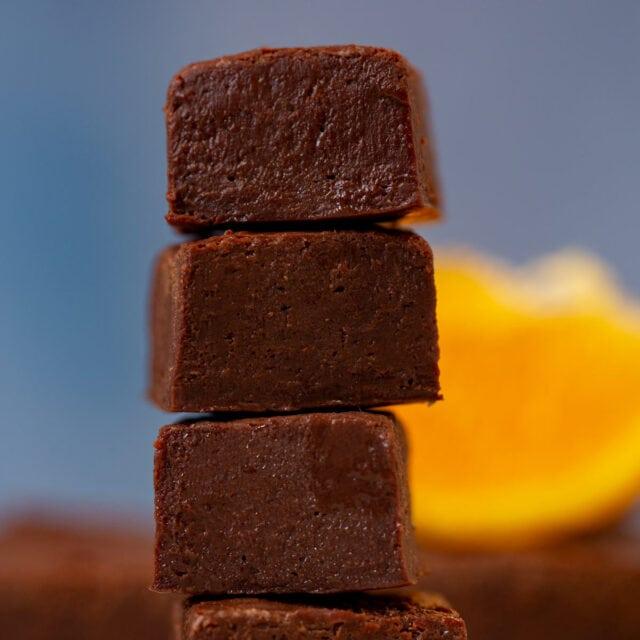Dark Chocolate Orange Fudge in small stack