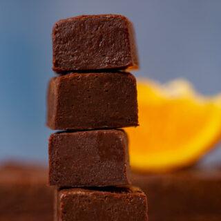 stack of Dark Chocolate Orange Fudge