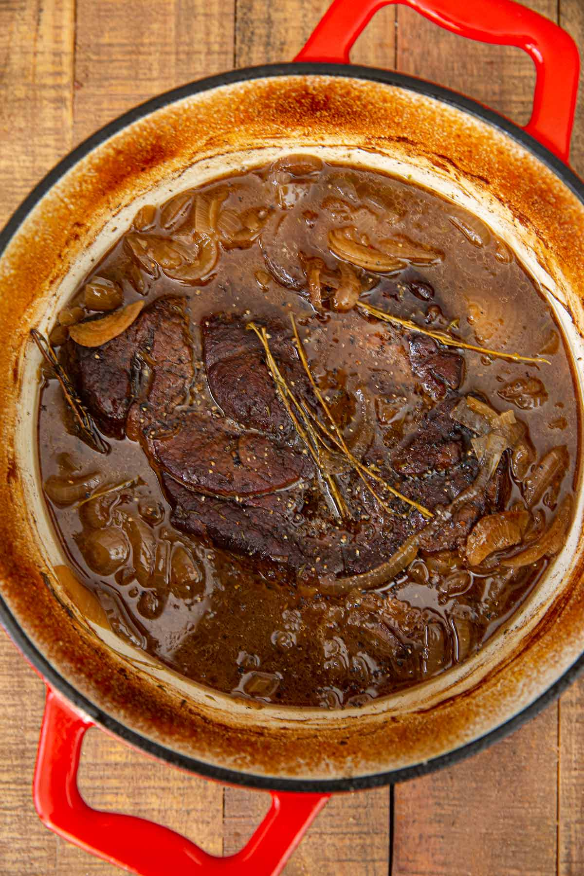 French Onion Pot Roast after braising