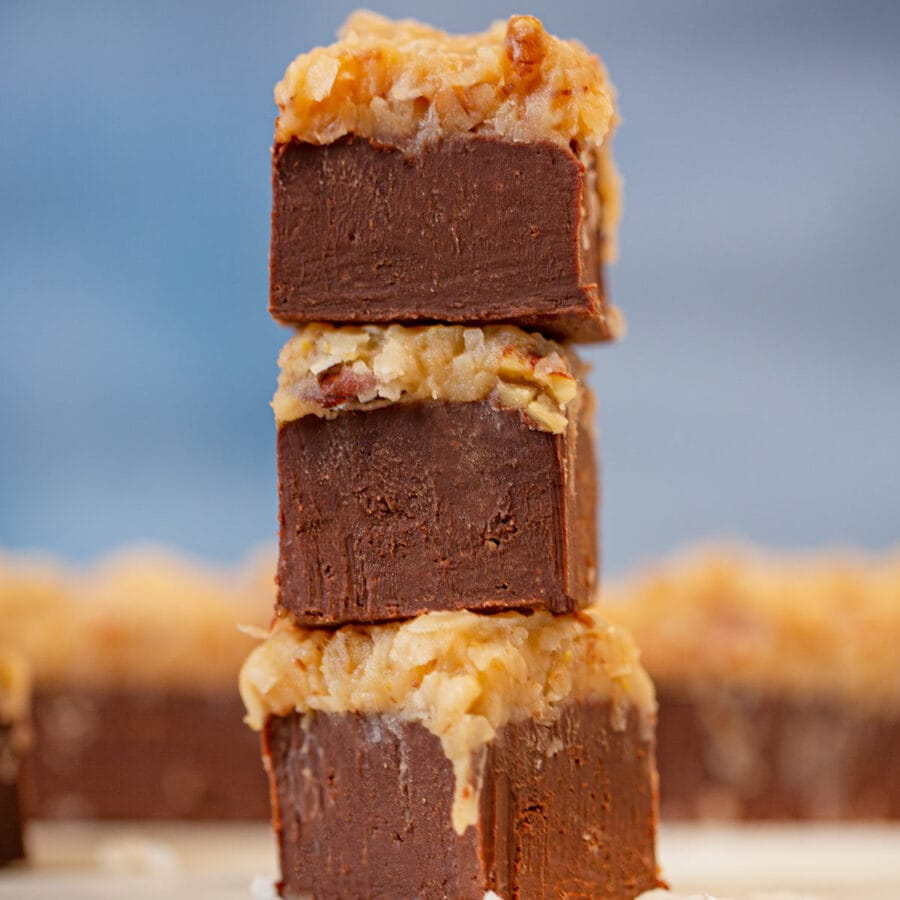 German Chocolate Fudge in a stack