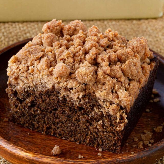 Gingerbread Crumb Cake slice on plate