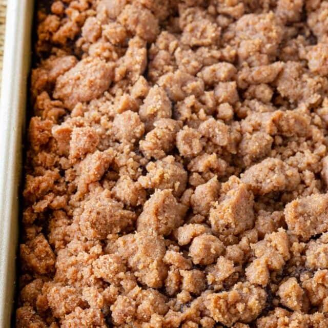Gingerbread Crumb Cake in baking pan