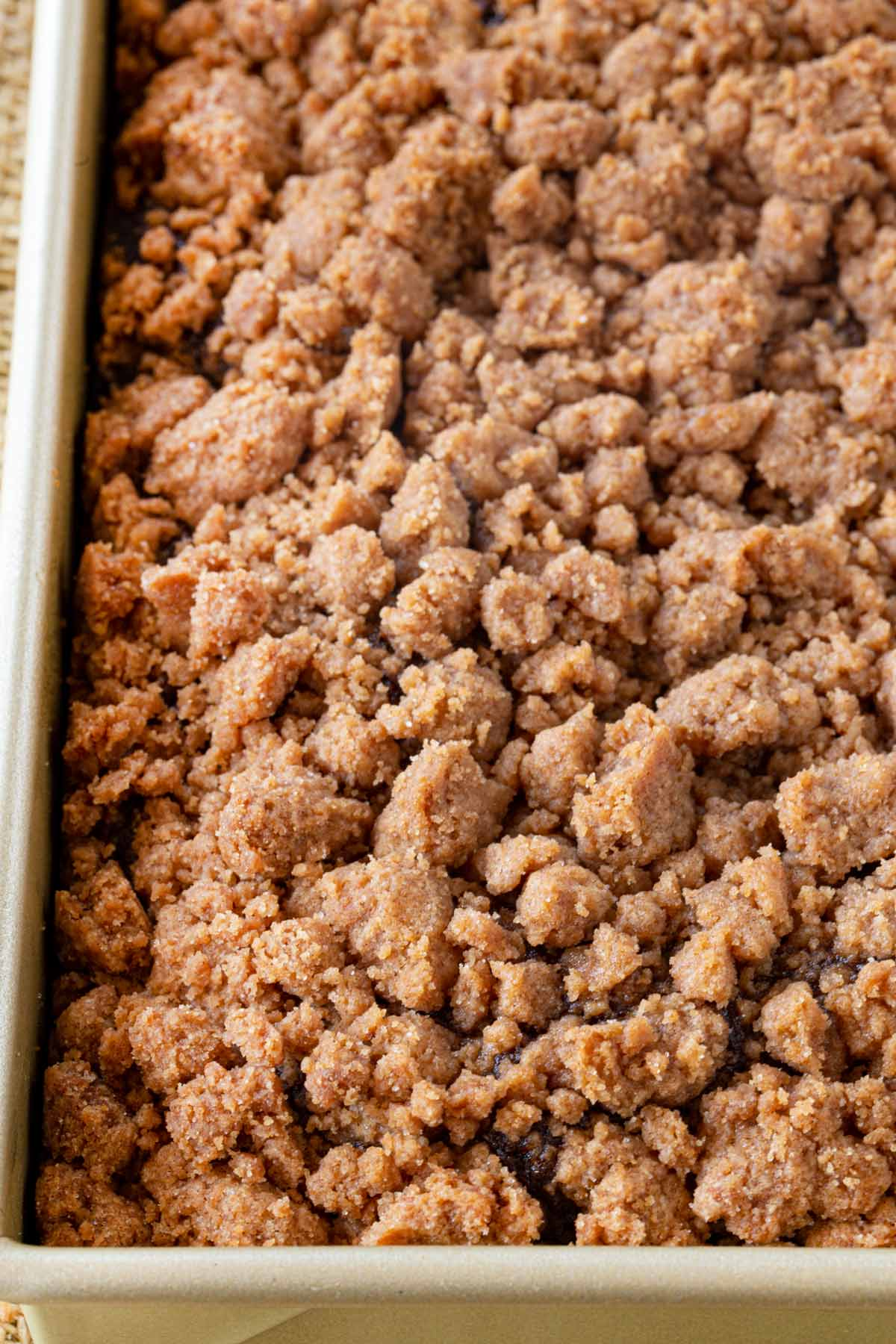 Gingerbread Crumb Cake in baking pan