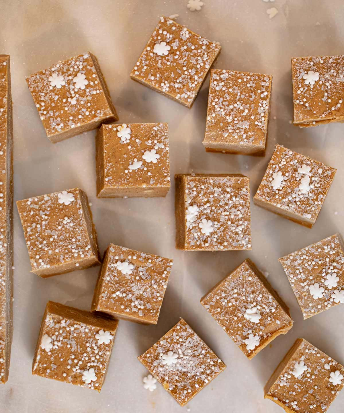 Gingerbread Fudge bites on cutting board