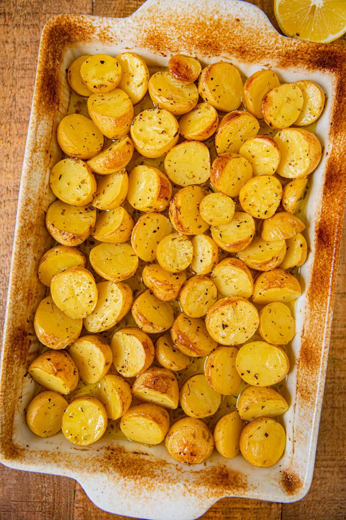 Greek Lemon Potatoes in baking dish