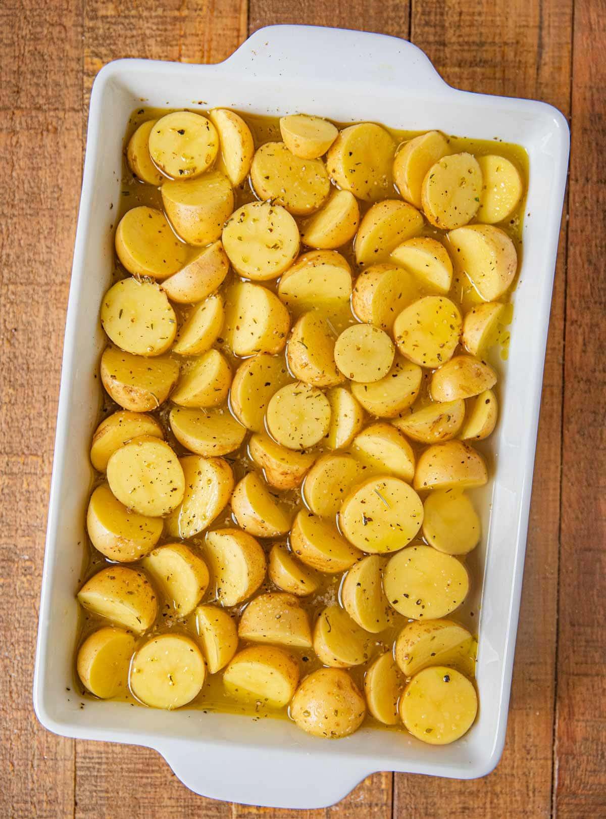 Greek Lemon Potatoes in baking dish before cooking