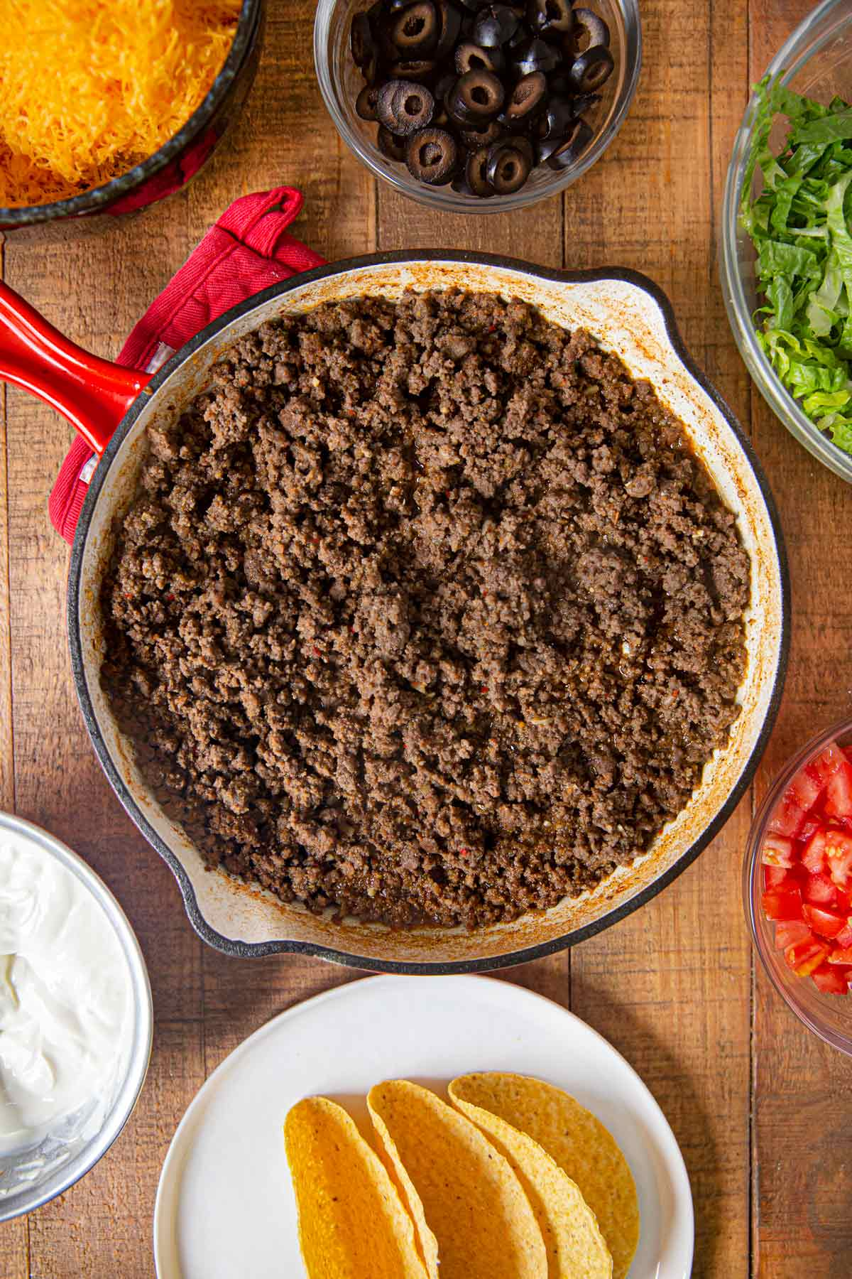Ground Beef Tacos ground beef and ingredients