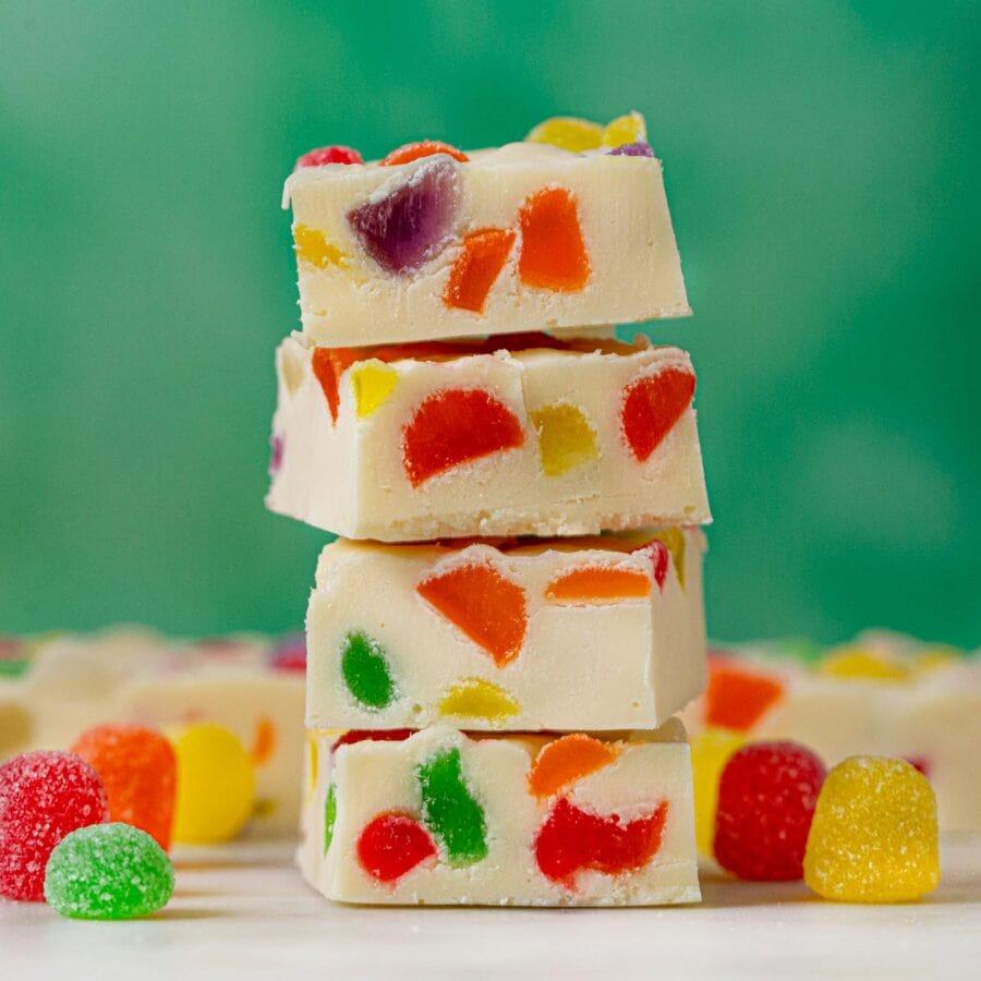Gumdrop Fudge in a stack with green background