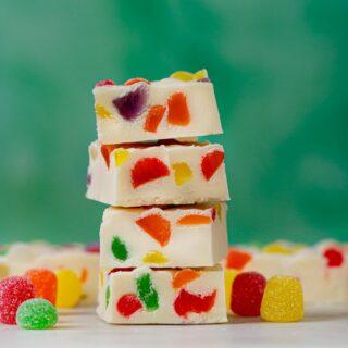 Gumdrop Fudge in a stack