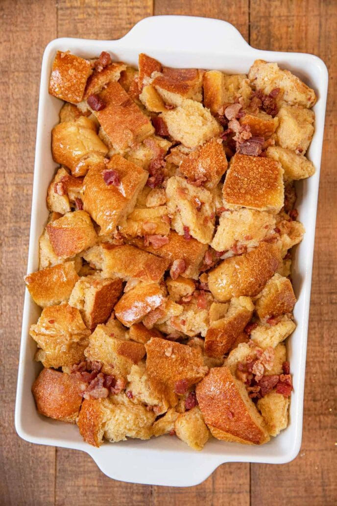 Maple Bacon French Toast Casserole before baking