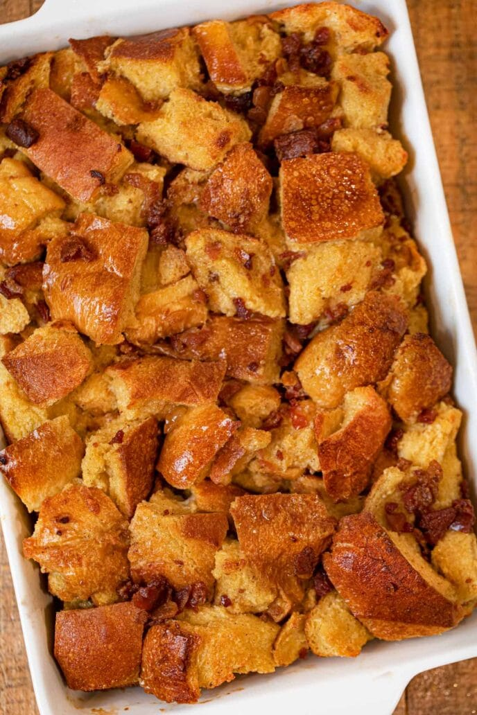 Maple Bacon French Toast Casserole in baking pan