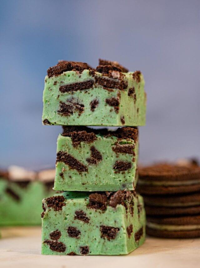 Stack of Mint Oreo Fudge