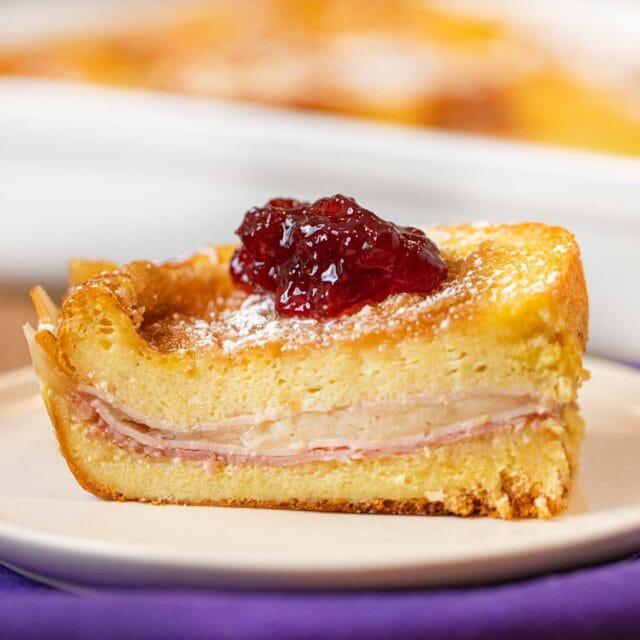 Monte Cristo Casserole serving on plate