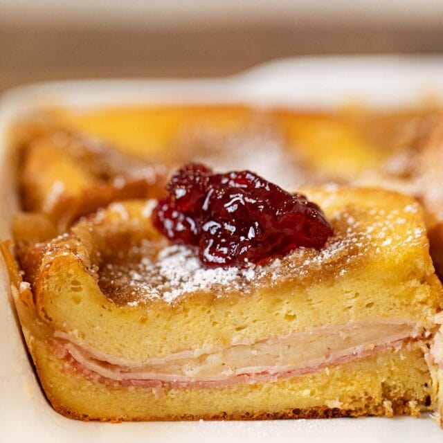 Monte Cristo Casserole cross-section in baking dish