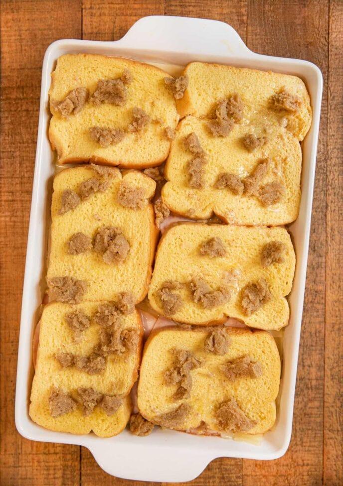 Monte Cristo Casserole before baking