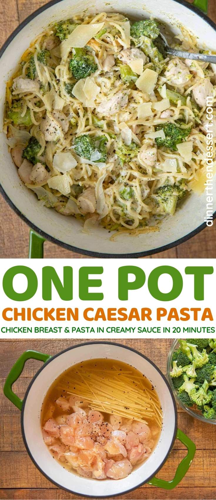 One Pot Chicken Caesar Pasta collage