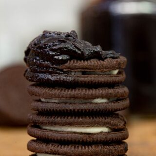 Oreo Cookie Butter on stack of oreos