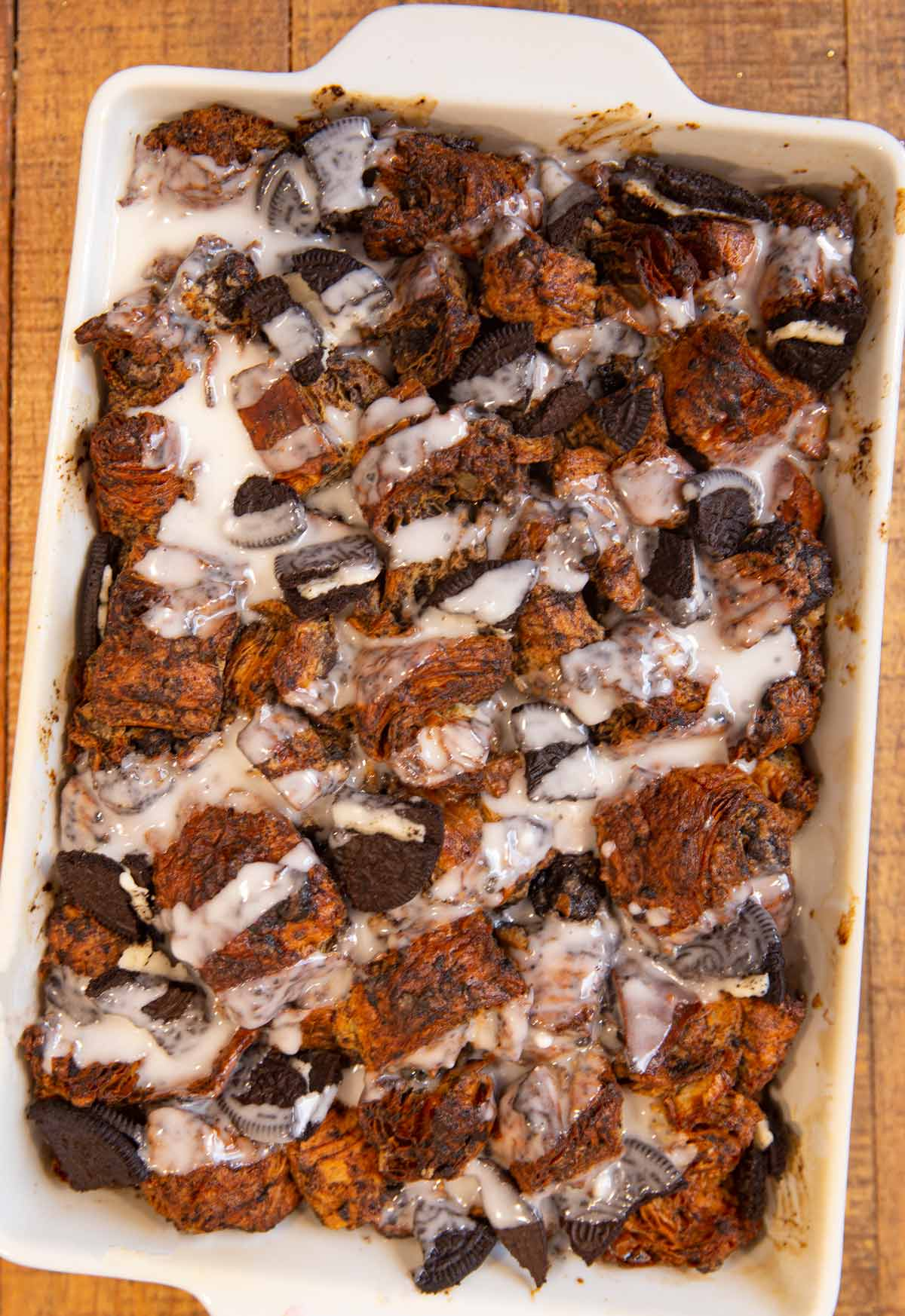 Oreo Croissant Bread Pudding in baking dish after baking
