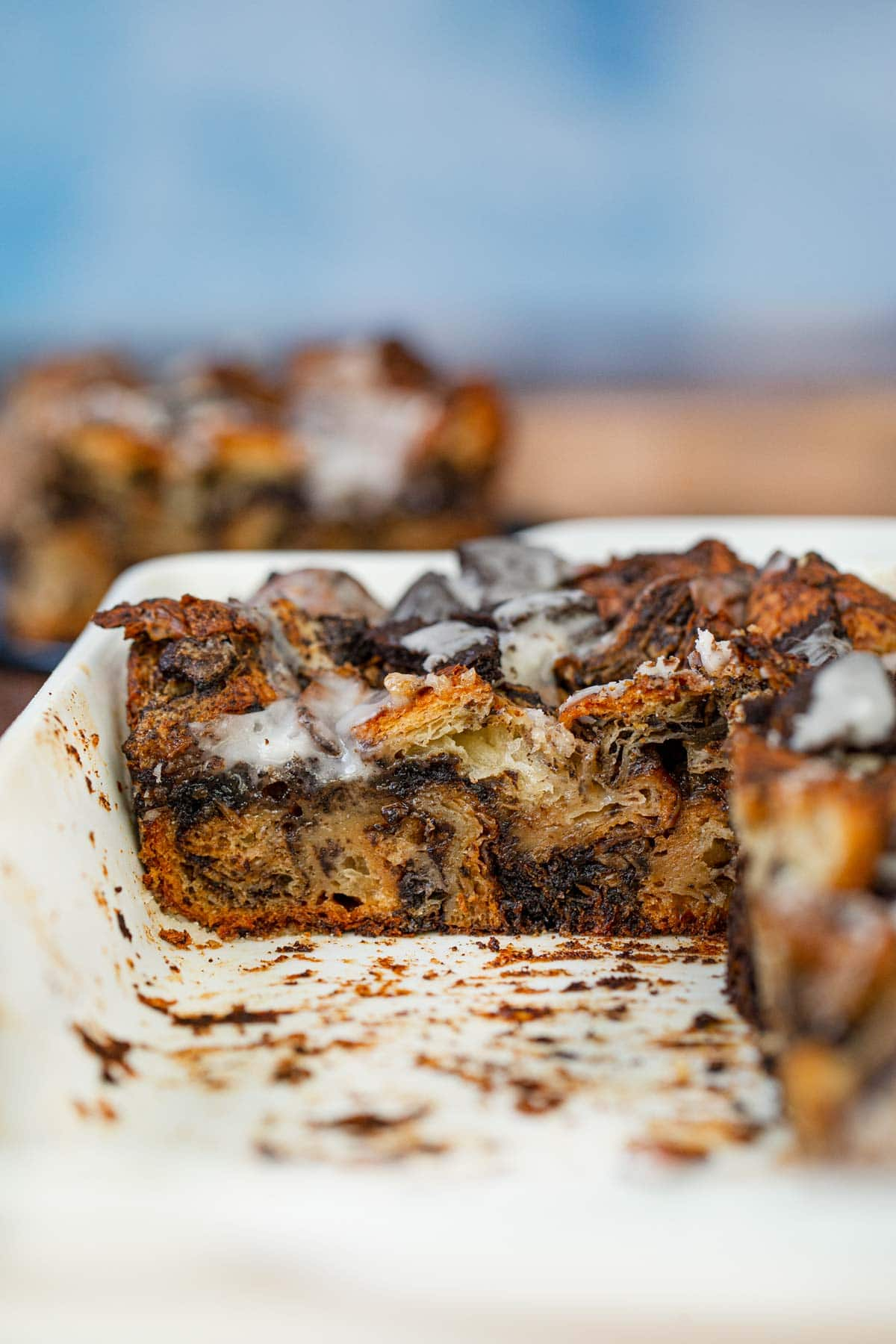 Cross section of Oreo Croissant Bread Pudding