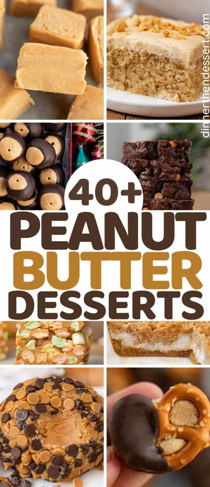 Peanut Butter Desserts collage of photos with title across the middle