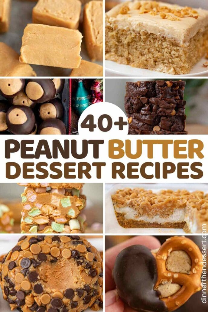 Tiled Collage of pictures of peanut butter desserts
