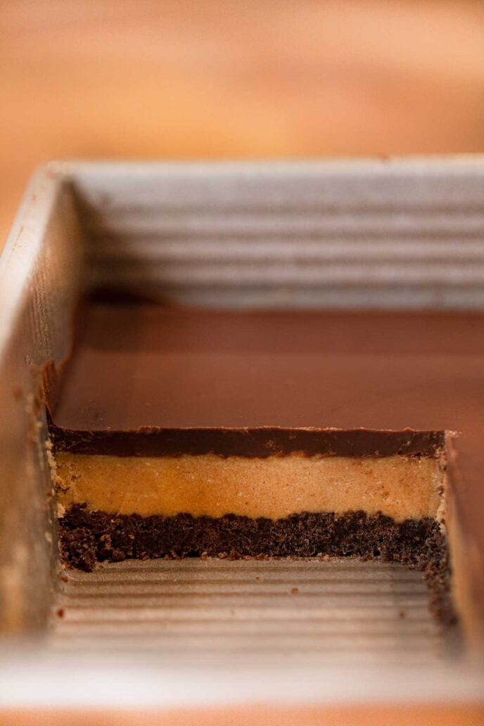 Section of Peanut Butter Oreo Bars in baking pan
