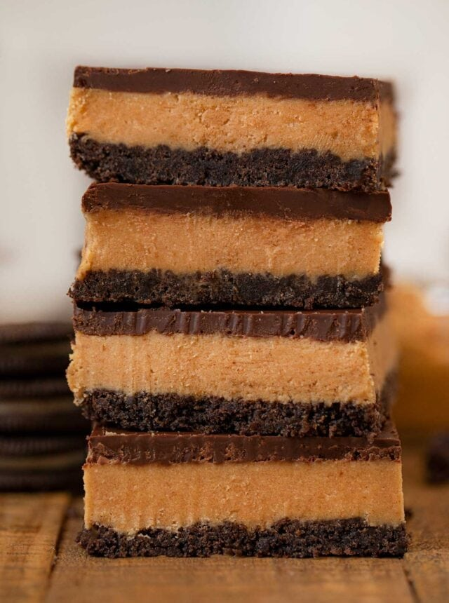 Peanut Butter Oreo Bars in a stack