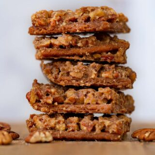 Pecan Pie Bark in a stack