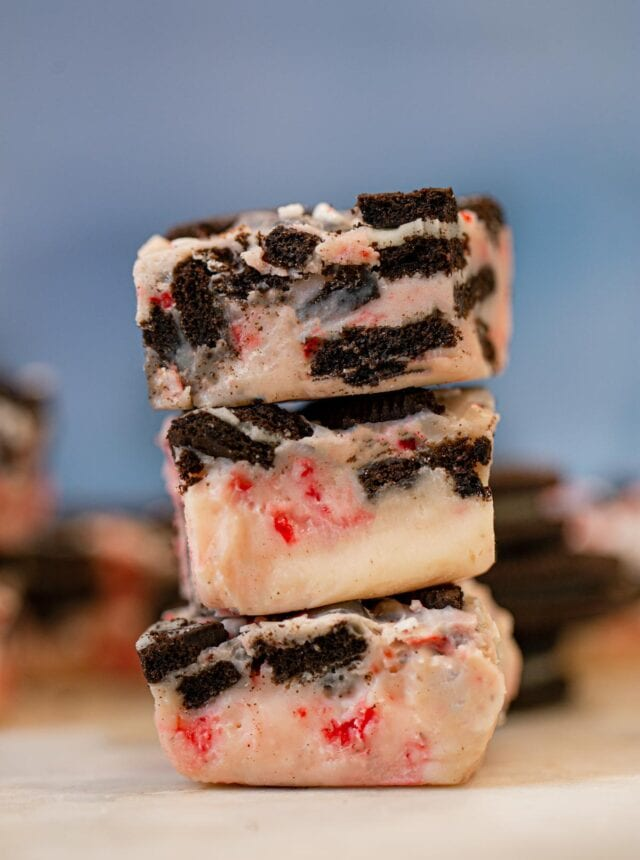 White Chocolate Oreo Peppermint Fudge