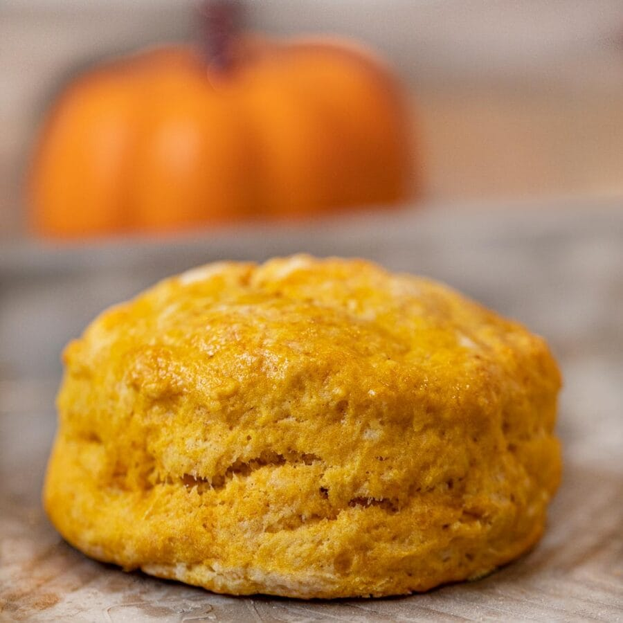 Pumpkin Biscuits with small pumpkin in the background