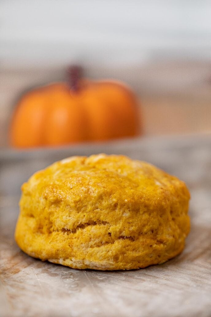 Pumpkin Biscuits with pumpkin in the background