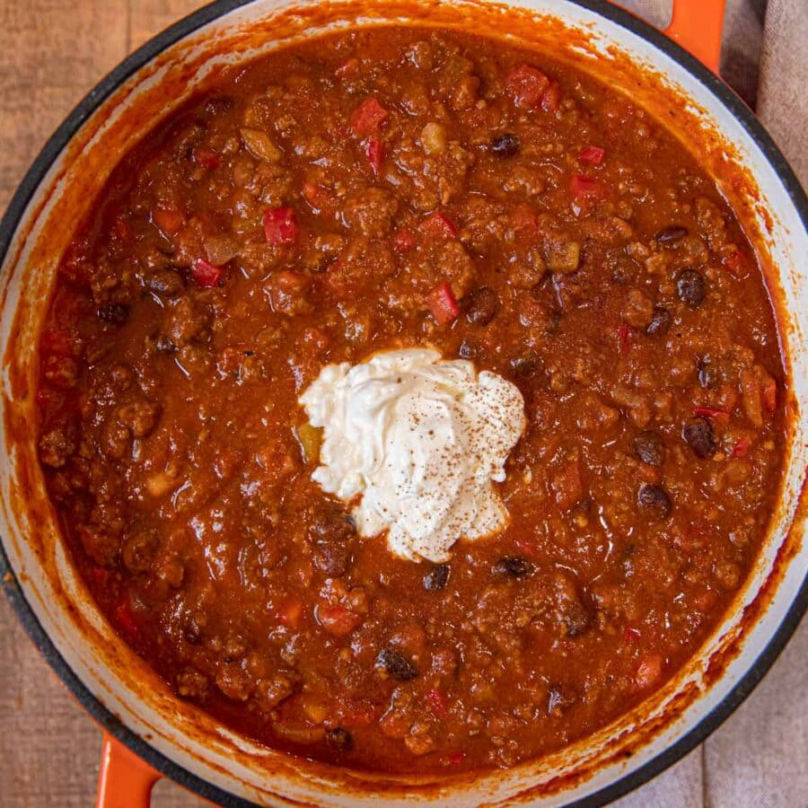 Pumpkin Chili with sour cream topping