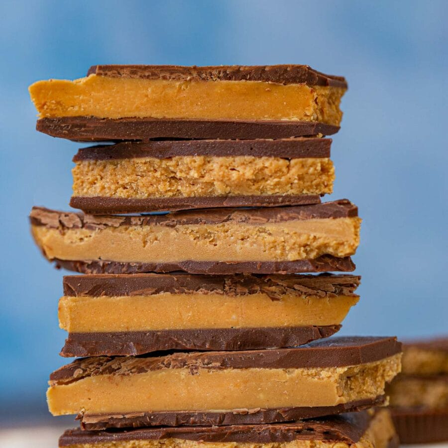 Reese's Bark in a stack with PB cups behind it