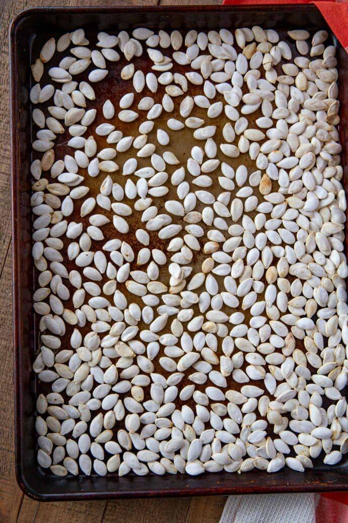 Roasted Pumpkin Seeds on baking sheet