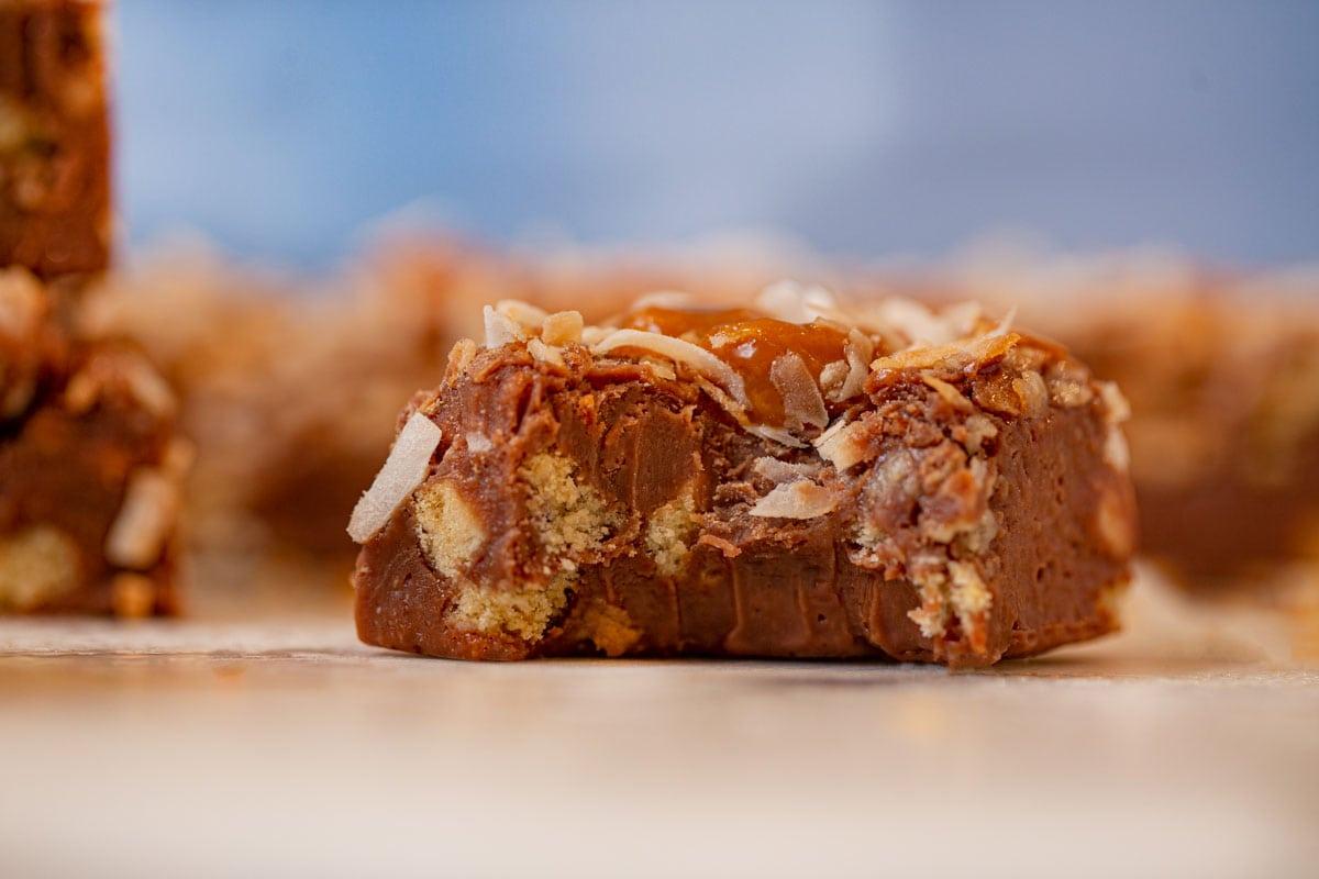 Bite taken out of Samoa's Cookie Fudge