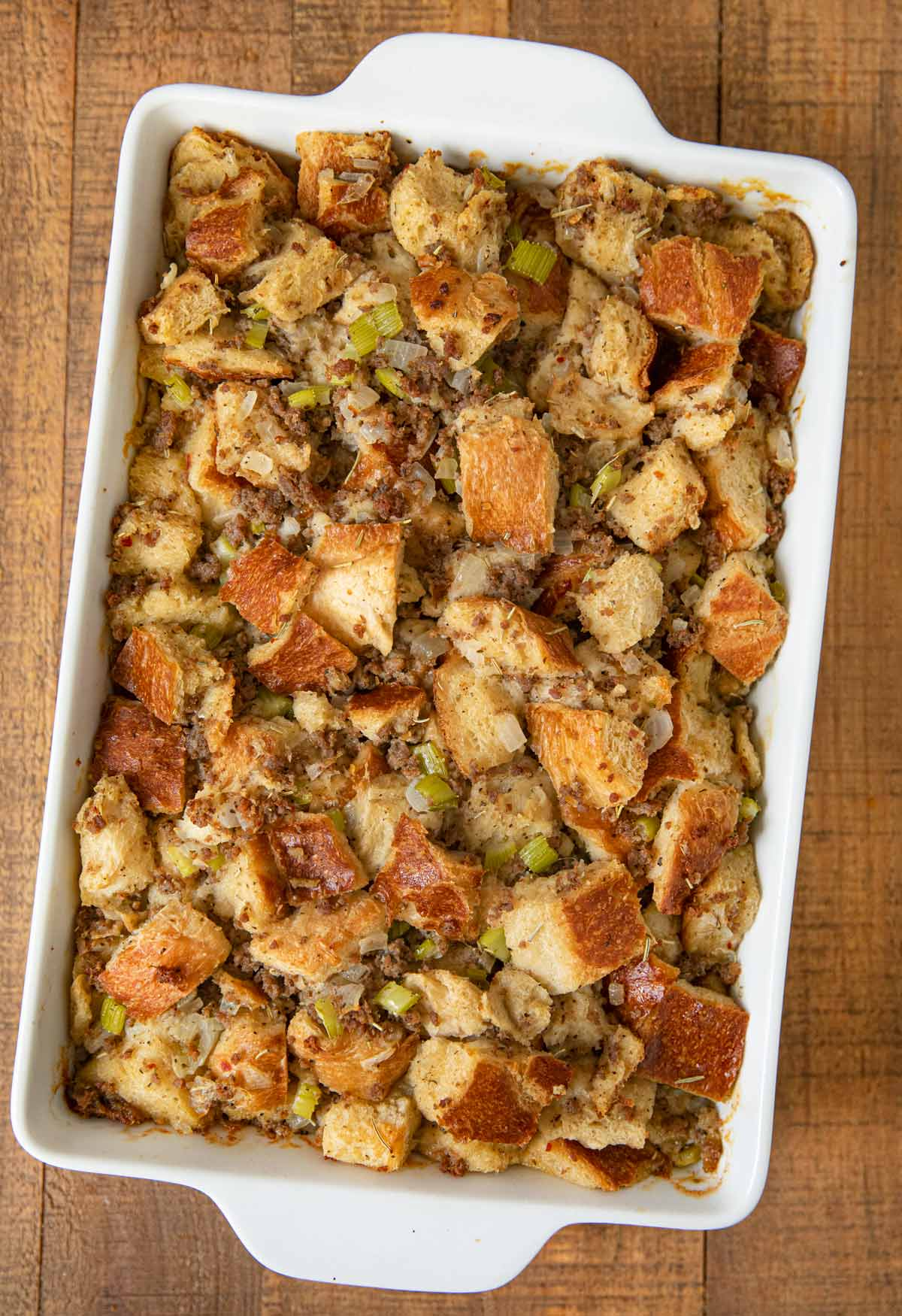 Sausage and Herb Stuffing after baking