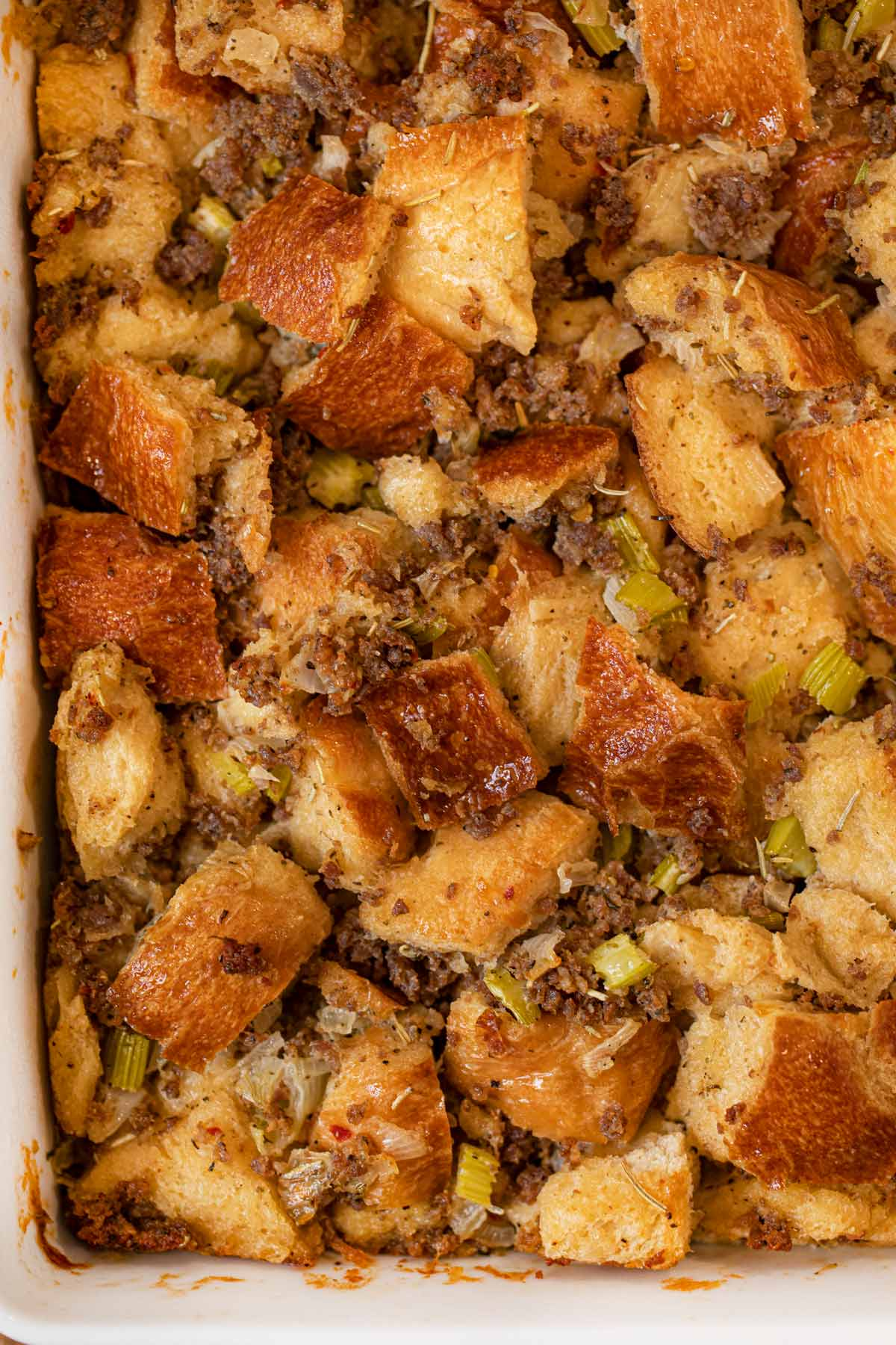 Sausage and Herb Stuffing from top down