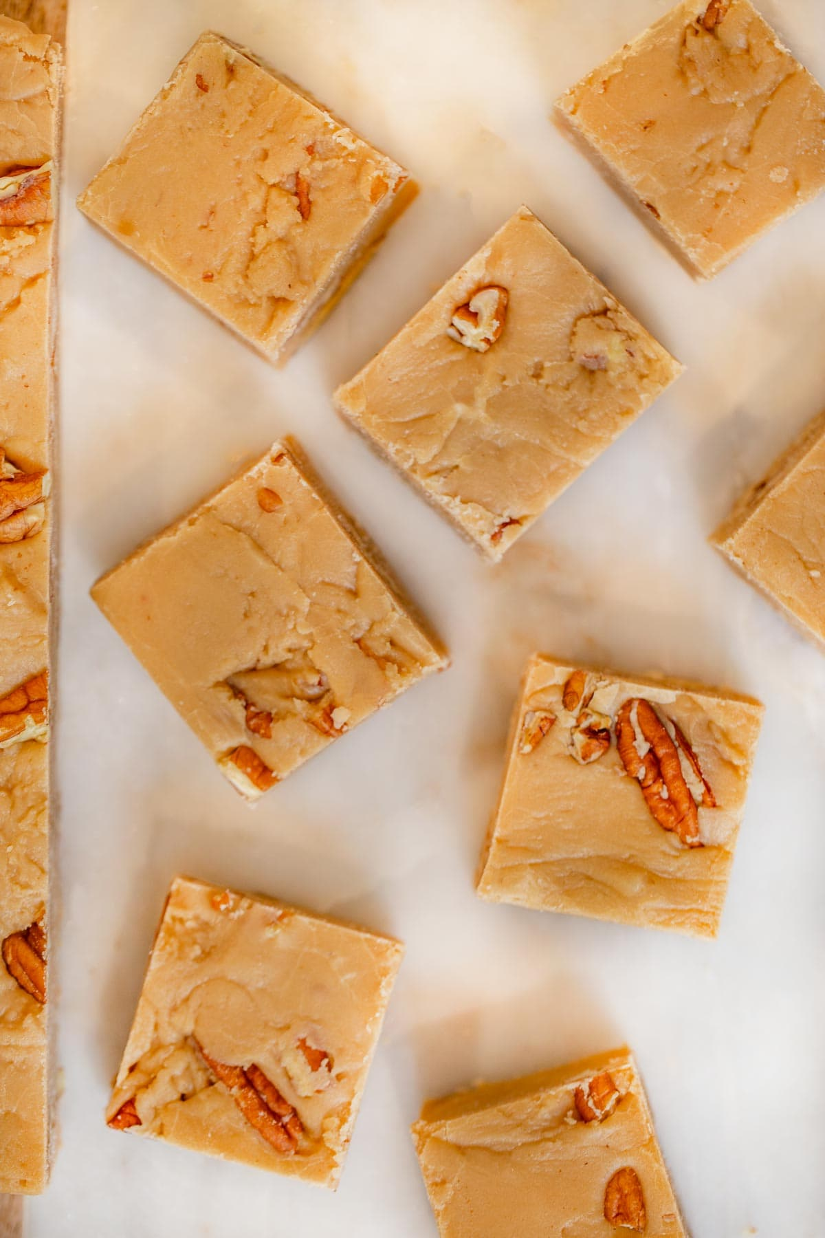 See's Bordeaux Pecan Fudge pieces on cutting board