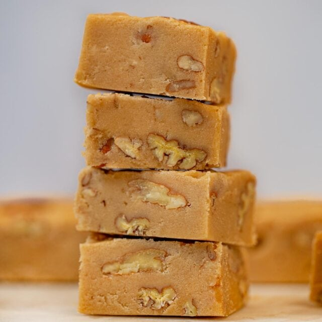 See's Bordeaux Pecan Fudge in stack