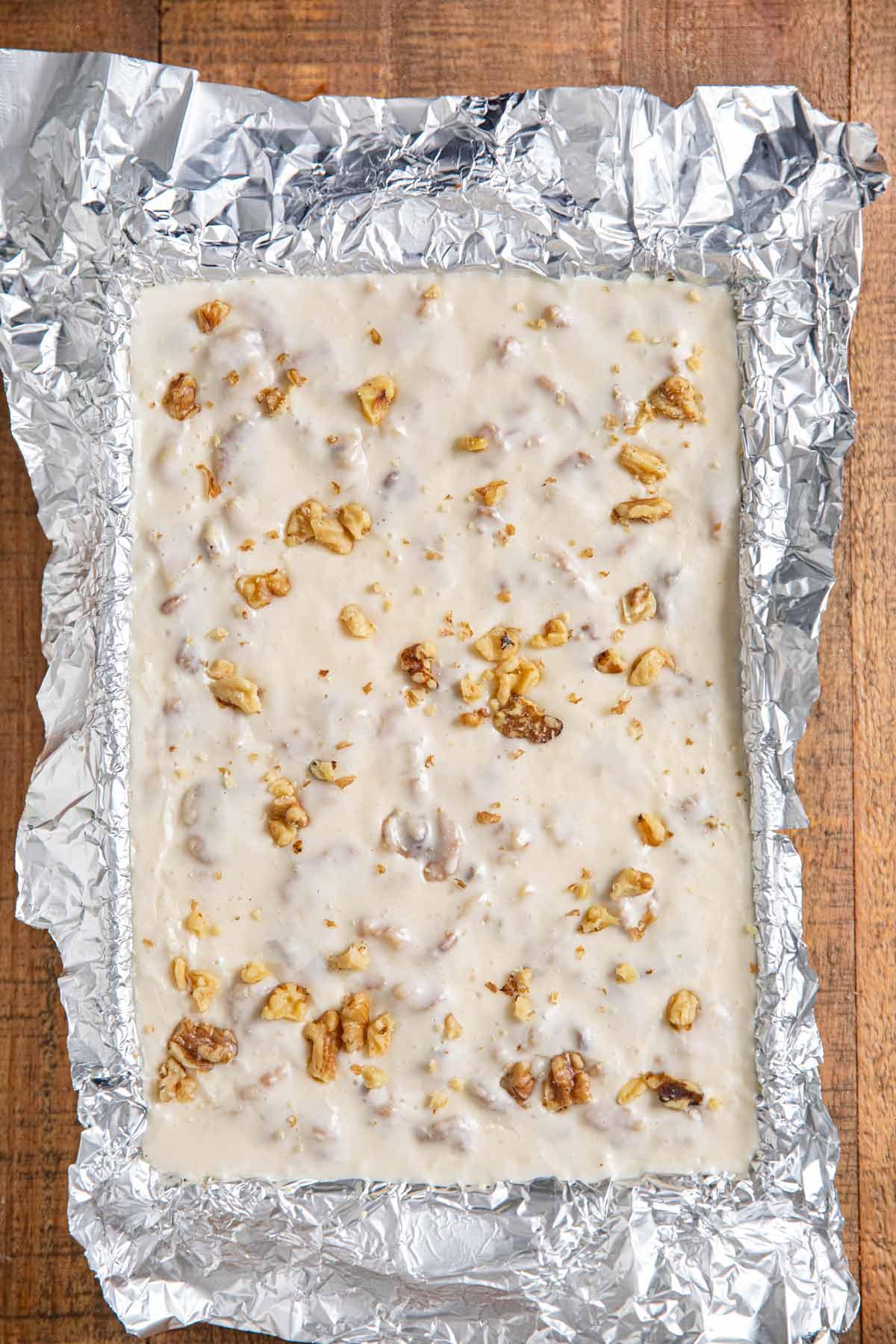 See's Vanilla Walnut Fudge in foil-lined baking dish