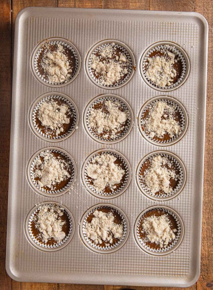 Shoofly Muffins in muffin tin before baking