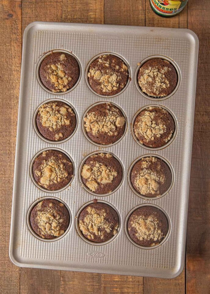 Shoofly Muffins in muffin tin, top-down