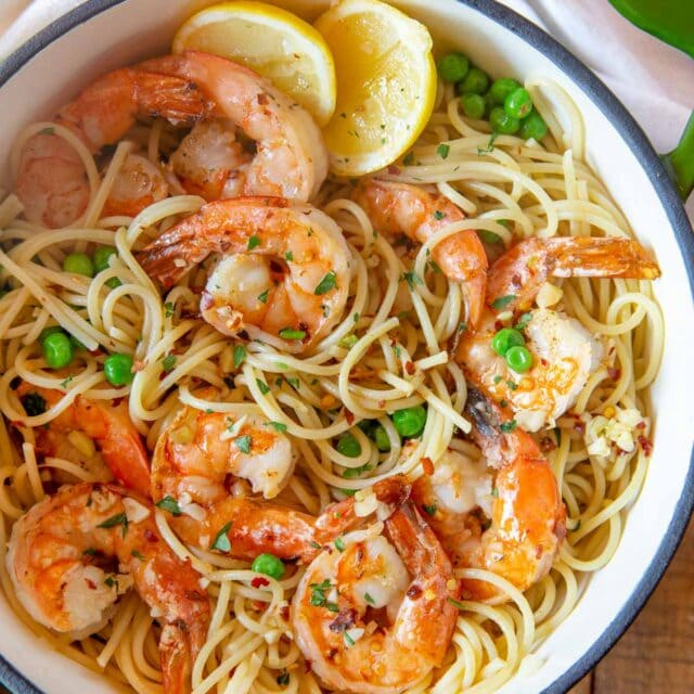 top down photo of Shrimp Scampi Pasta with peas