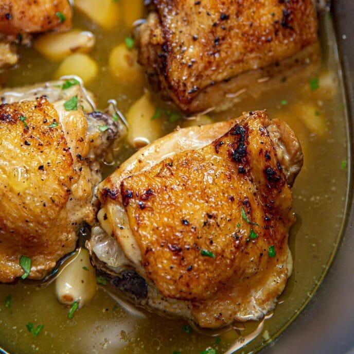 Slow Cooker 40 Clove of Garlic Chicken in crock pot
