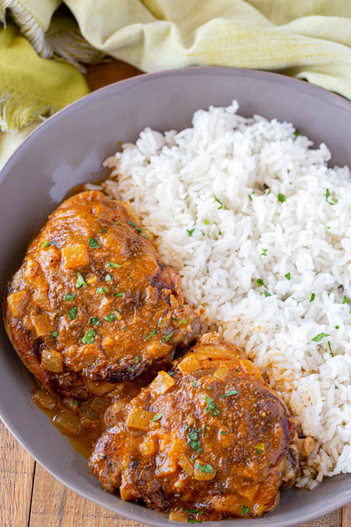 Slow Cooker Tikka Masala in grey bowl