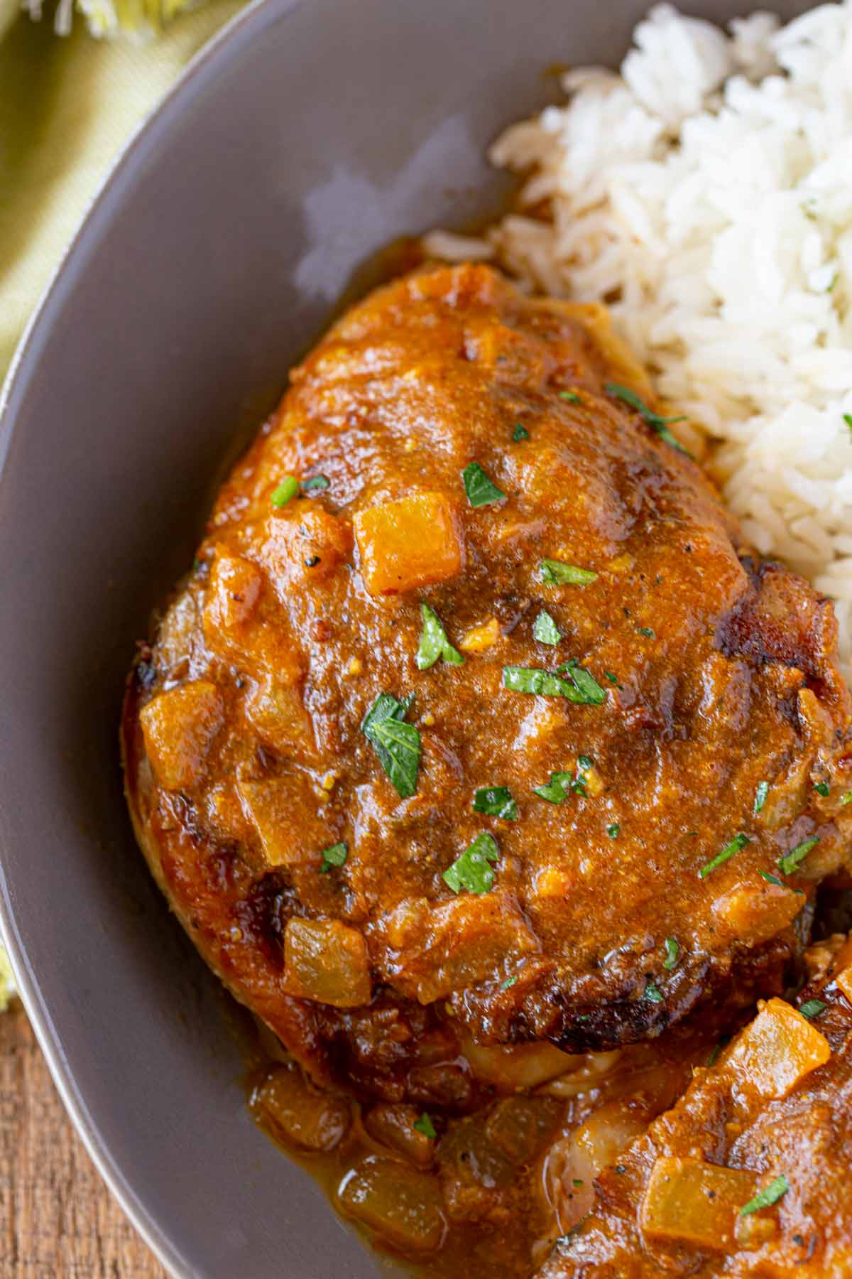 Indian Chicken Tikka Masala Crockpot thigh in bowl with rice