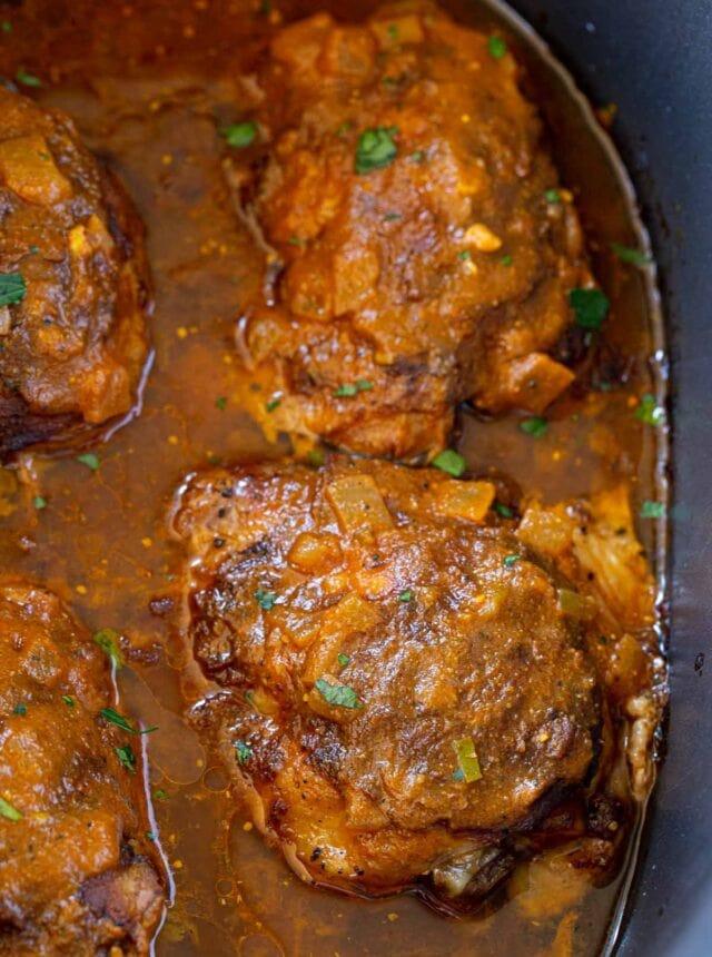 Slow Cooker Chicken Tikka Masala in crockpot insert