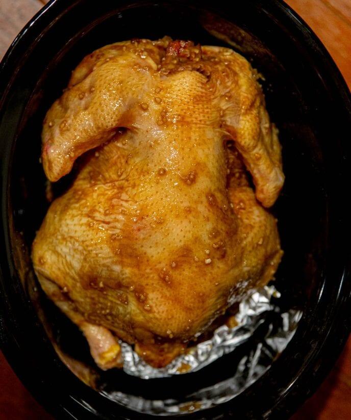 Slow Cooker Honey Orange Garlic Chicken in crock pot before cooking